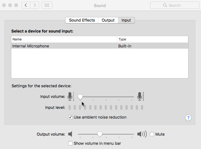 micrphone input level
