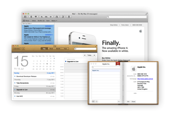 unified maili cal address book in Lion