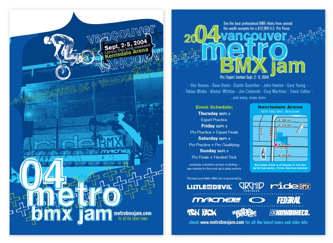 """2004 Vancouver Metro Jam 4"""" x 6"""" postcards, featuring Dustin Guenther."""