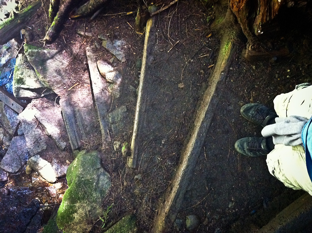 And, a photo of my feet looking over the spiral stairs down.