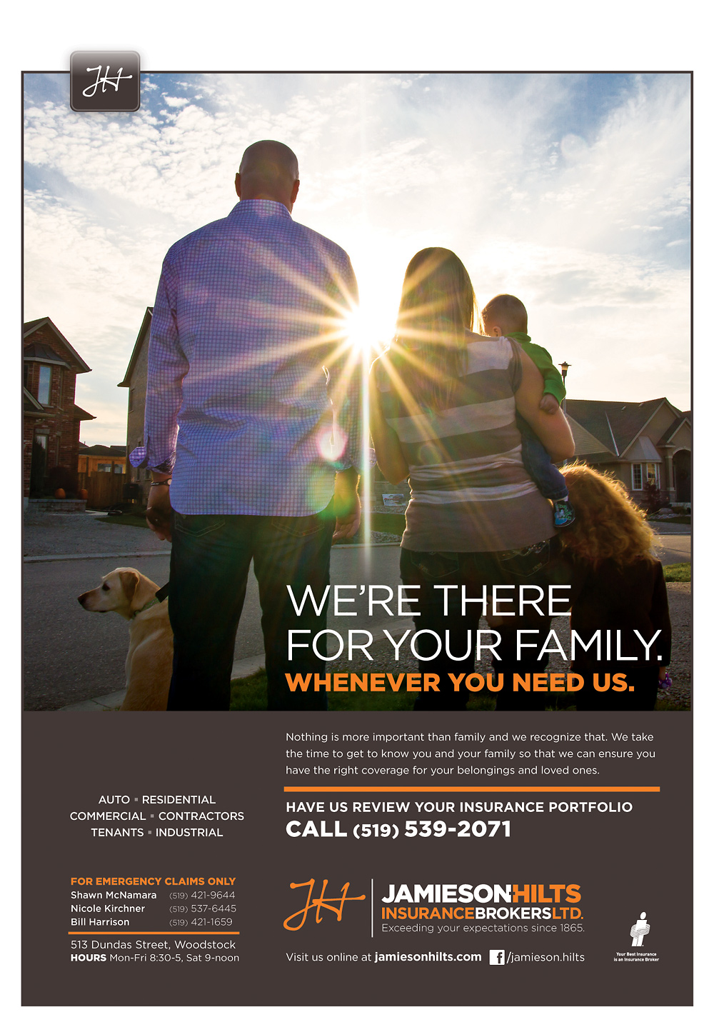 Jamieson-Hilts Insurance full-page magazine ad.