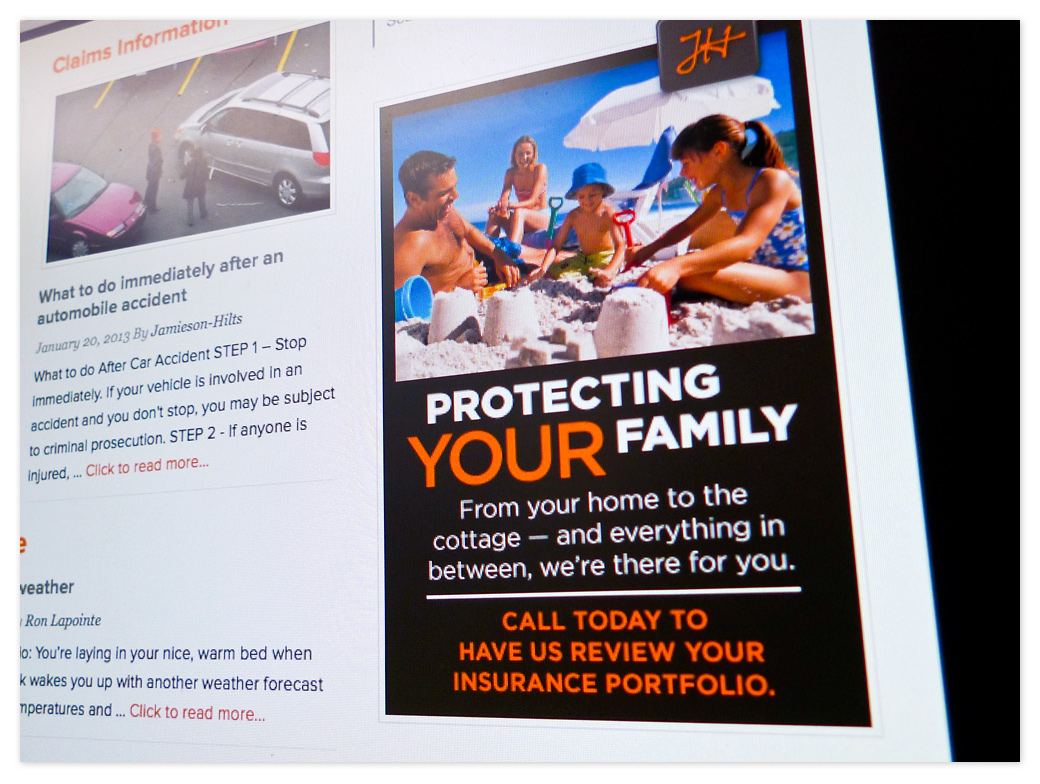 A sidebar ad on the website links you through to home insurance information. These ads will rotate with the seasons to bring relevant information to the foreground.