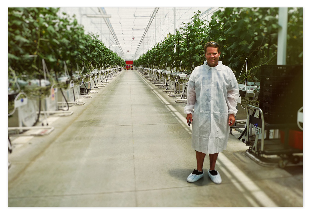 Inside Windset's cucumber greenhouse... That's me dressed in the latest in greenhouse visitor fashion.