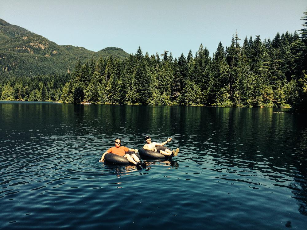 Derek and Matt floating at Weaver Lake.
