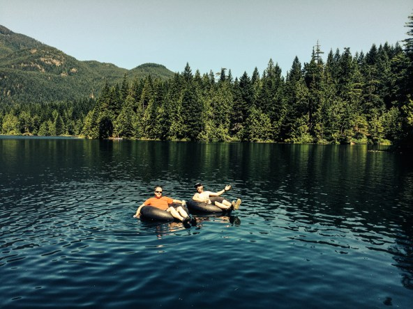 Derek and Matt floating at Weaver Lake.