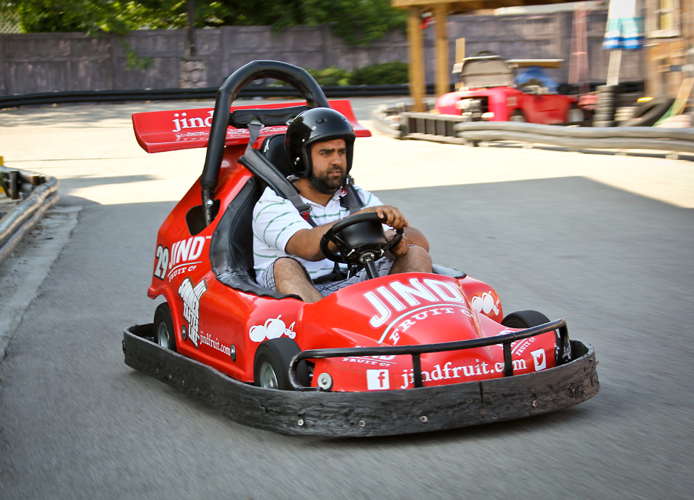 The go kart in action on the Rattlesnake Canyon track.