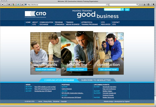 The BC CITO website frontpage showcases quick access to finding out more information about starting or advancing your career in the construction industry.