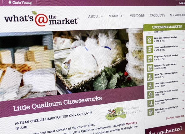 Detail of the Little Qualicum Cheeseworks vendor page.
