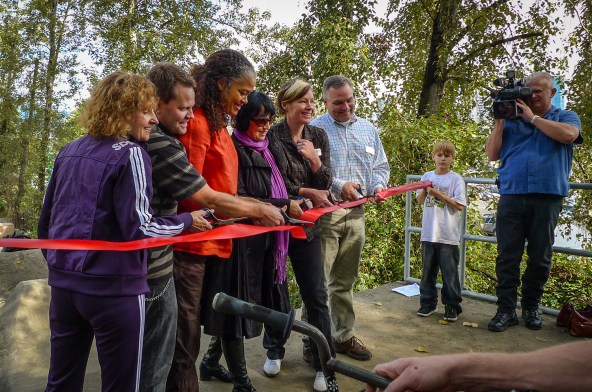 Ribbon cutting with Vancouver Park Board commissioners.