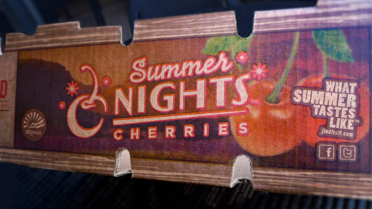 Jind Fruit Co. Summer Nights Cherries Tray Case side panel detail.