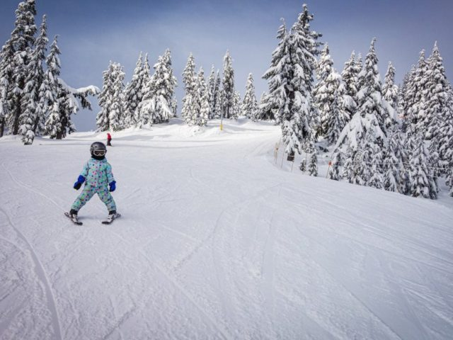 A blasting down Cypress Mountain without a care in the world.