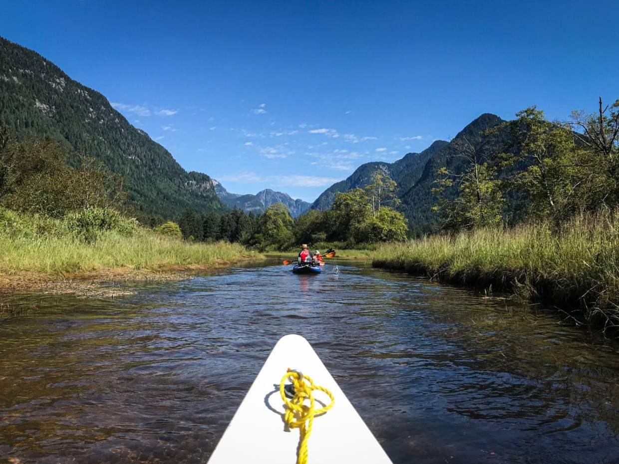 Paddling up the Widgeon Creek on the hottest day of the summer, and nowhere to hide.