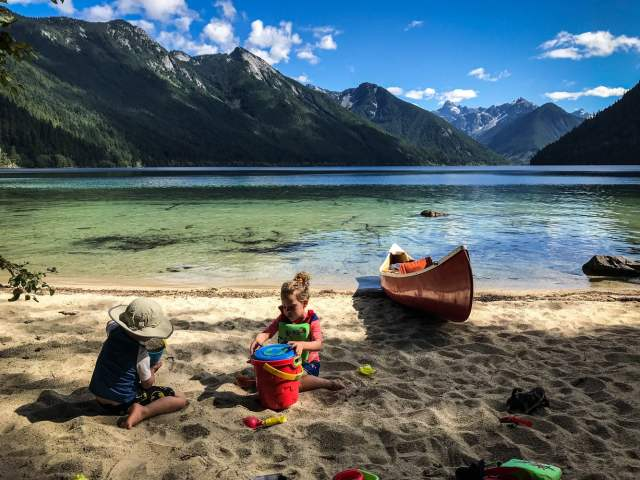 Playing on the beach at Chilliwack Lake - the shallow water extends out about 70 feet, and it's amazing in the hot summer sun.