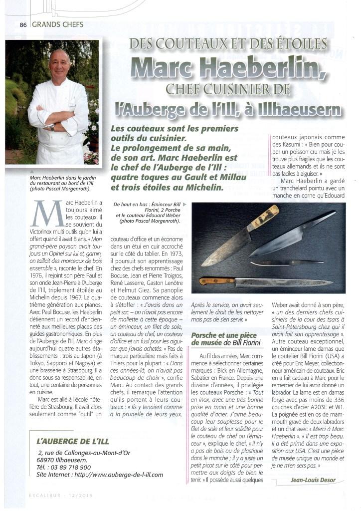 Excalibur décembre 2015, Marc Haeberlin adore le couteau Porsche