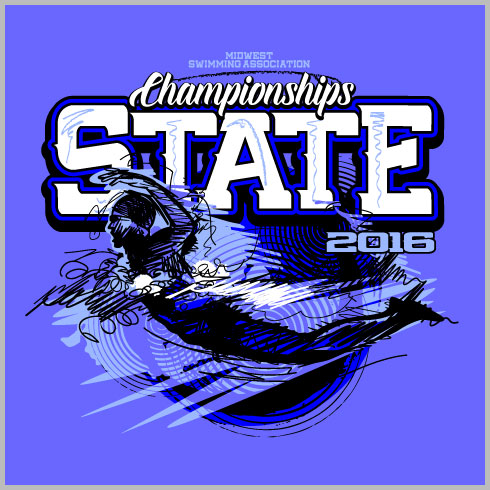 State Swimming Shirt with Swimmer and Sketch Design Elements