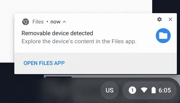 Removable device detected