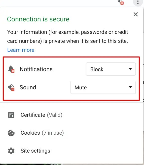 Mute notifications and sound