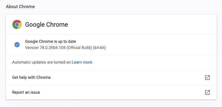 Chrome checks for updates