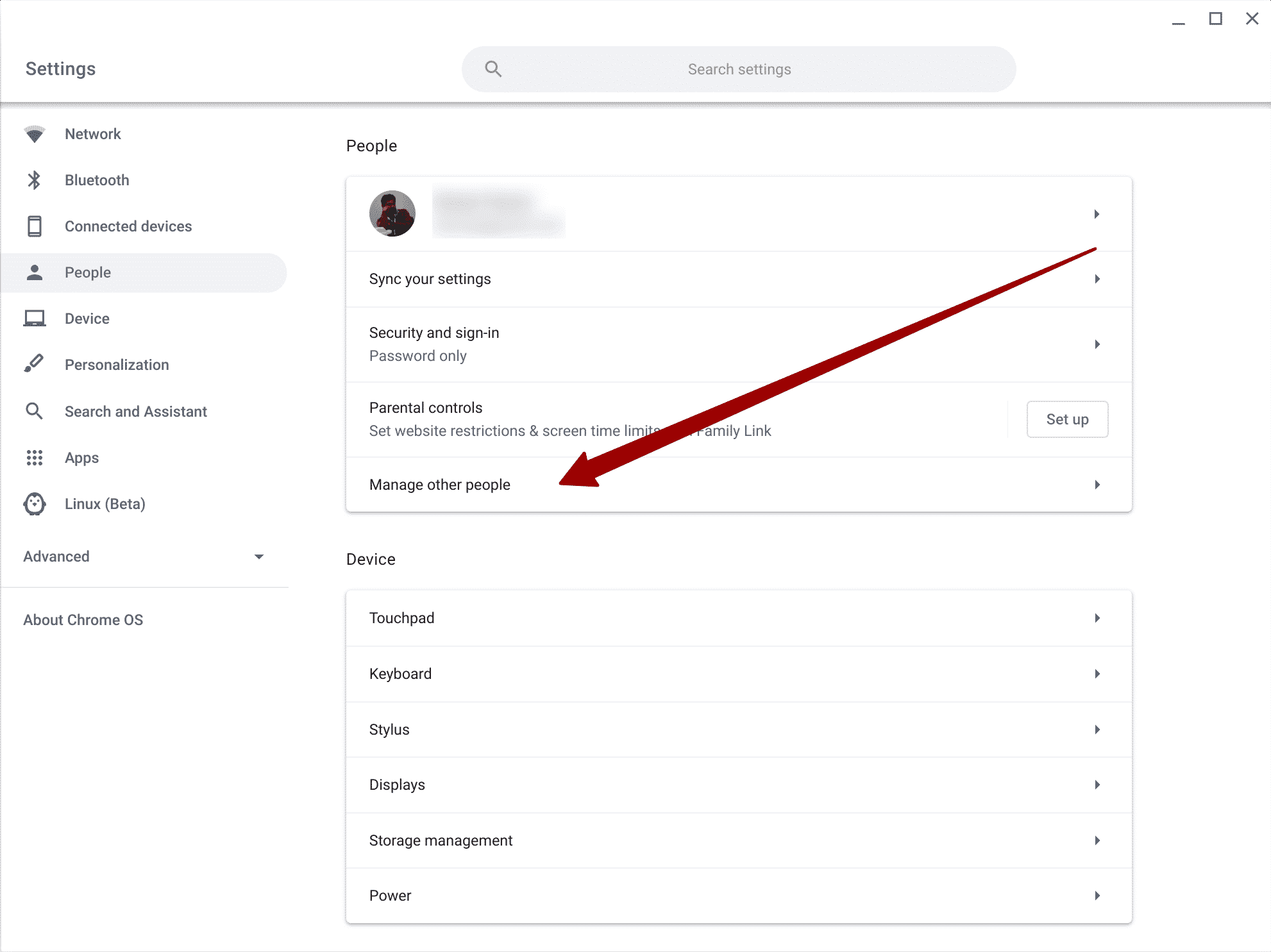 Manage other people settings Chromebook