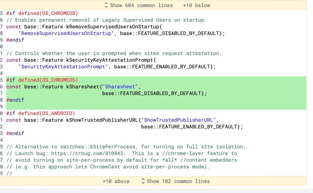 Chrome OS Code for Share Sheet