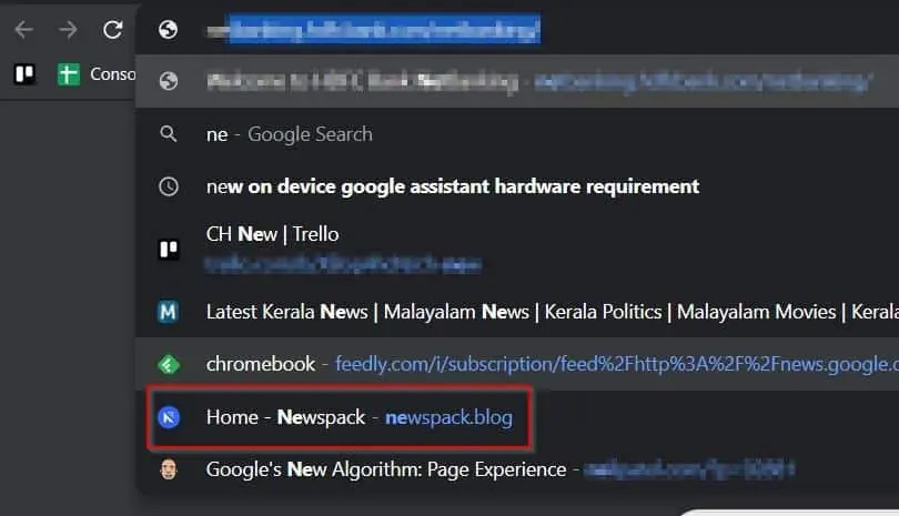 Chrome autofill recommendation