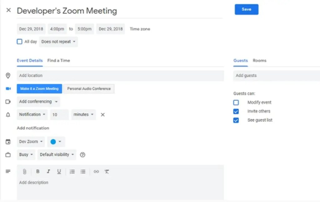 Google Calendar Scheduler page with Zoom meeting button