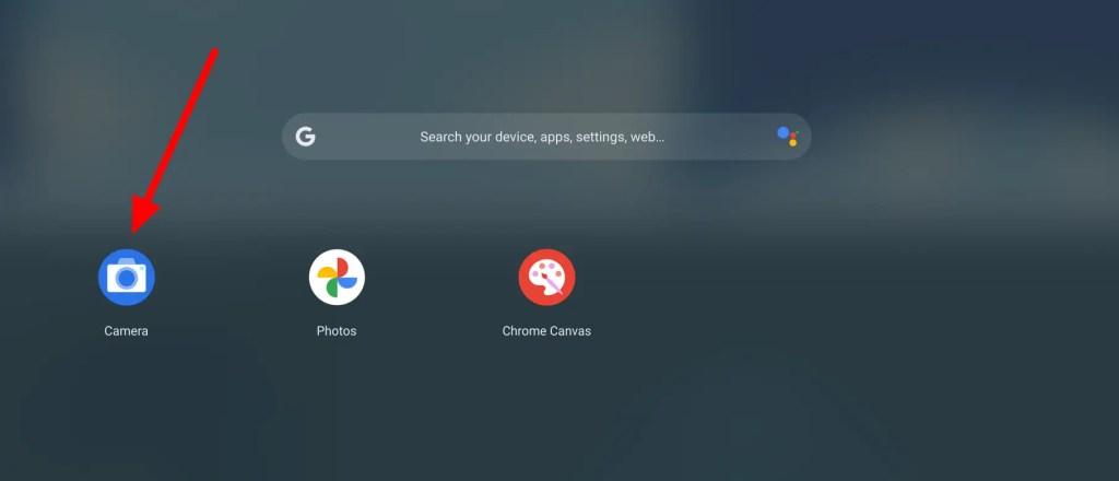 Chromebook camera app in the menu