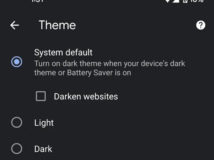 Darke websites on Chrome