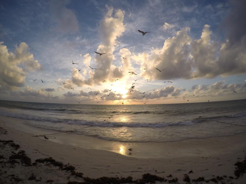 Sun rise Playa del Carmen Beach