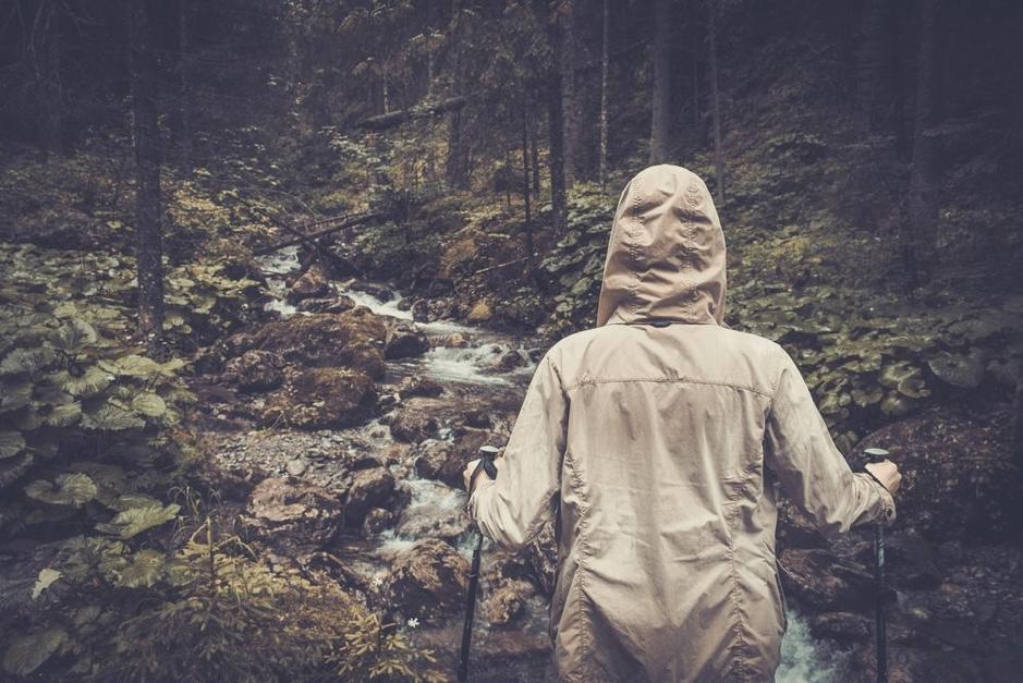 hiking in rain