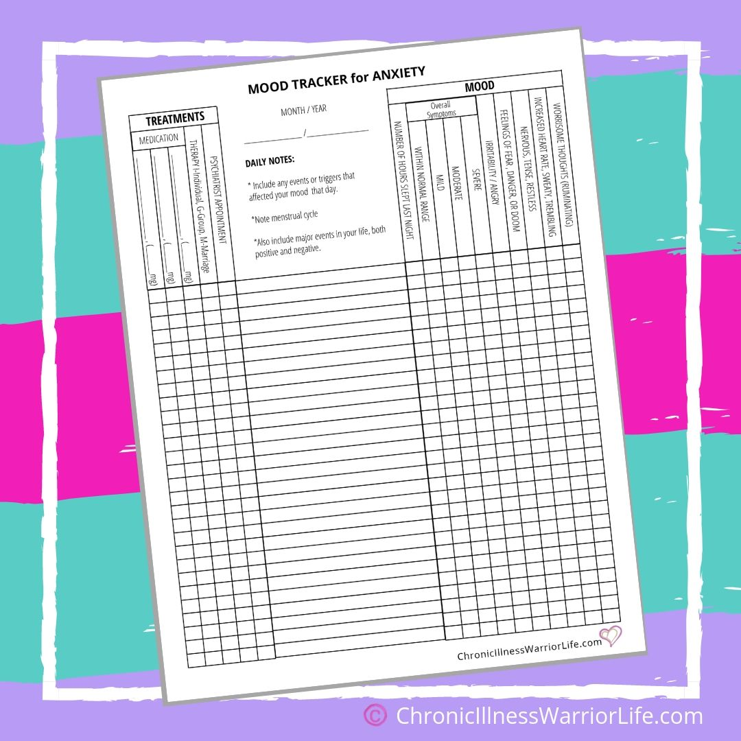Daily Mood Tracker Printable Anxiety Worksheets For Mental