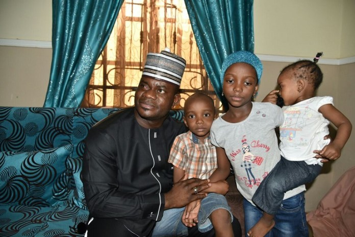 Governor Yahaya Bello in company of the children of late Lt. Col Muhammad Abu Ali