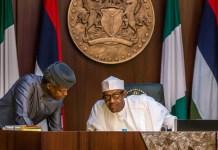 FILE PHOTO: Vice President Yemi Osinbajo and President Muhammadu Buhari