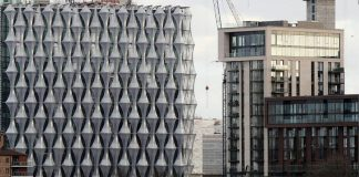 Construction continues at the new U.S. Embassy and diplomatic quarter in London.