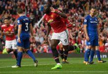 Romelu Lukaku celebrates scoring his sides third goal against Everton