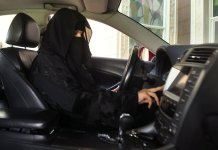 A woman behind the wheel in Saudi Arabia in 2013. The kingdom said on Tuesday that women would be allowed to drive starting in June 2018