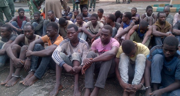 FILE: Boko Haram fighters who surrendered to the Nigerian Army