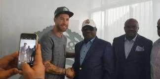 Star struck Nyesom Wike posed alongside Real Madrid captain, Sergio Ramos