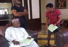 Chief Olusegun Obasanjo on set