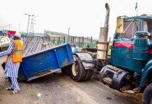 LASEMA officials at the scene of an accident in Lagos