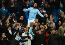 Raheem Sterling celebrates scoring the winner