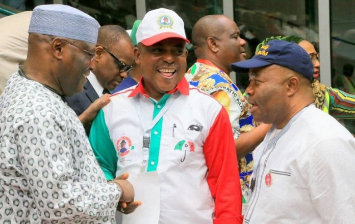 FILE: PDP bigwig Atiku Abubakar, Uche Secondus, PDP national chairman, with Senator Godswill Akpabio