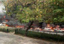 Vehicles burn as tanker explodes in Festac area of Lagos on Wednesday
