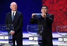 Diego Maradona draws England during the Final Draw for the 2018 FIFA World Cup Russia at the State Kremlin Palace on December 1, 2017 in Moscow,