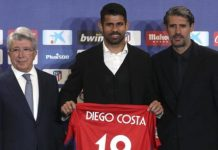 Diego Costa was presented by Atletico President Enrique Cerezo (left) and Sport Director Jose Luis Perez Caminero