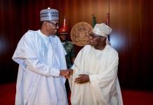 President Muhammadu Buhari and Olusegun Obasanjo, former president of Nigeria