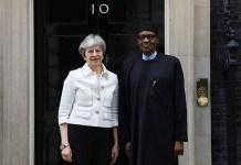 FILE PHOTO: Prime Minister Theresa May and President Muhammadu Buhari at 10 Downing Street