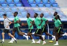 Nigeria train on Thursday in preparation for crunch clash against Iceland