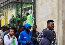 Massive queue on Oxford Street in London for new Super Eagles kit by Nike