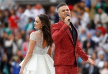 Robbie Williams and Aida Garifullina performed Angels in the opening ceremony of the 2018 World Cup in Russia